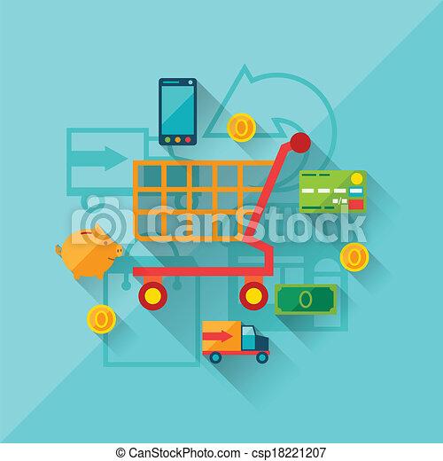 apartamento, conceito, shopping, ilustração, desenho, internet, style. - csp18221207