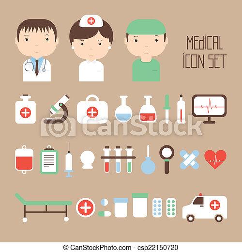 apartamento, elements., coloridos, ícones, ilustração médica, vetorial, saúde, desenho, style., set. - csp22150720