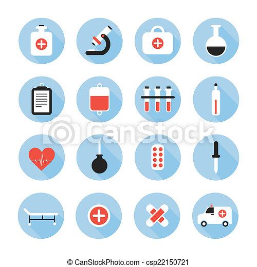 apartamento, elements., coloridos, ícones, ilustração médica, vetorial, saúde, desenho, style., set. - csp22150721
