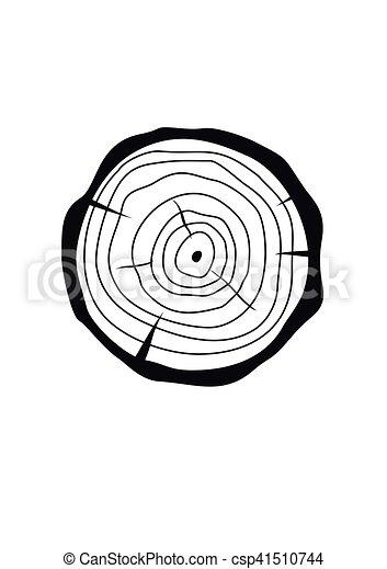 apartamento, estilo, fatia, toco, madeira, seção, árvore, crucifixos, ilustração, isolado, experiência., vetorial, tronco, natural, branca, circle. - csp41510744