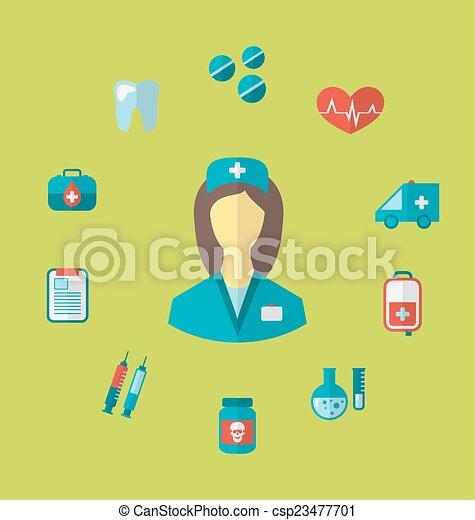 apartamento, estilo, jogo, ícones, médico, trendy - csp23477701