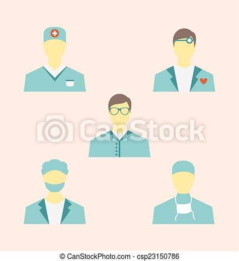 apartamento, estilo, jogo, ícones, médico, modernos, desenho, empregados - csp23150786