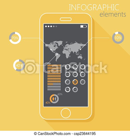 apartamento, estilo, jogo, mundo, móvel, gênero, longo, infographic, telefone., ilustração, sinais, mapa, sombra, elementos - csp23644195