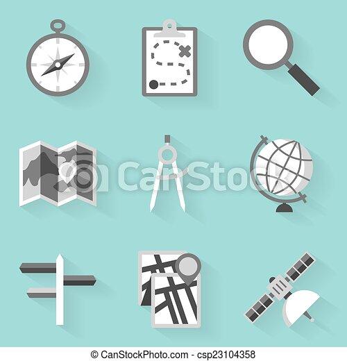 apartamento, estilo, navigation., set., branca, ícone - csp23104358