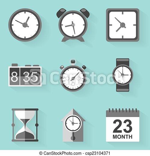 apartamento, estilo, set., clock., time., branca, ícone - csp23104371