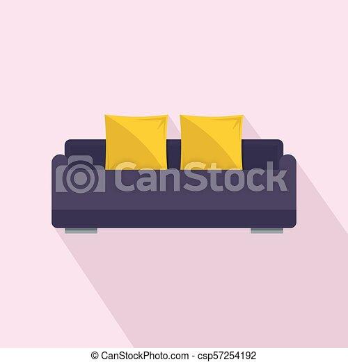apartamento, estilo, sofá, inglês, ícone, rolo - csp57254192