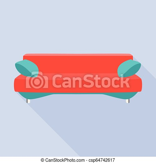 apartamento, estilo, sofá, modernos, ícone, vermelho - csp64742617