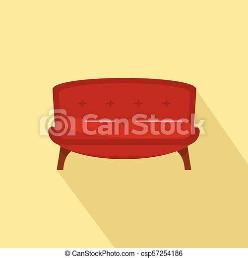 apartamento, estilo, sofá, smoking, ícone, vermelho - csp57254186