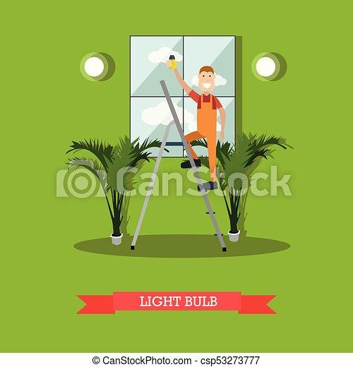apartamento, estilo, vetorial, eletricista, ilustração - csp53273777