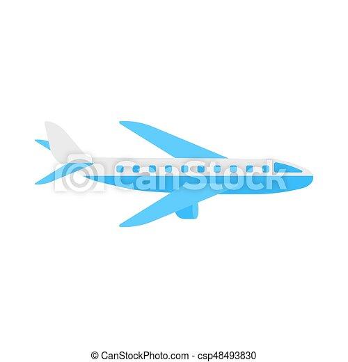 apartamento, illustration., isolado, aeronave, vetorial, fundo, avião, branca, ícone - csp48493830