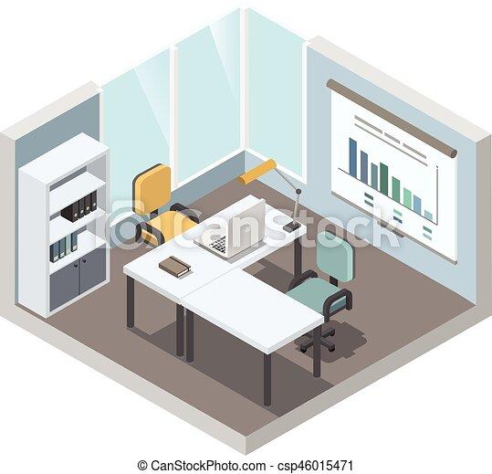 Apartamento isometric trabalhando escrit rio ilustra o vetorial desenho interior lugar for Planos de oficinas pequenas