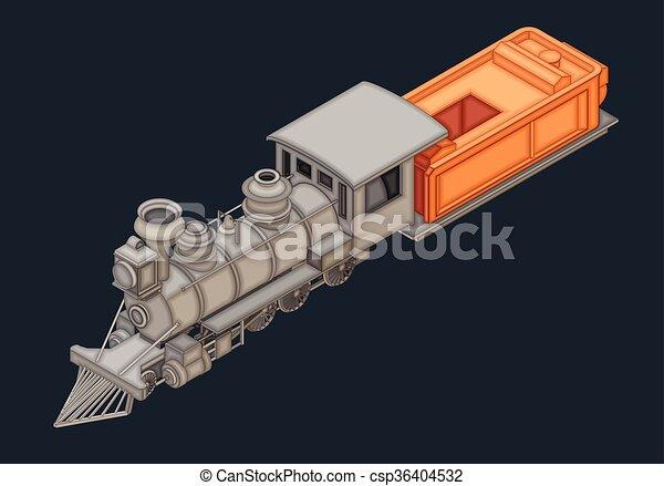 apartamento, isometric, vetorial, retro, locomotiva - csp36404532