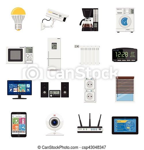 apartamento, jogo, ícones, casa, internet, coisas, esperto - csp43048347
