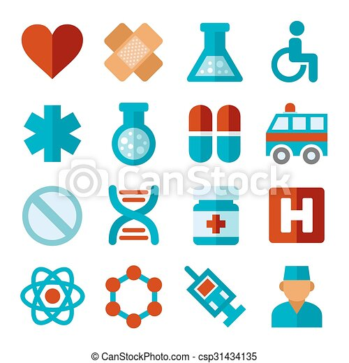 apartamento, jogo, ícones, médico, vetorial, style. - csp31434135