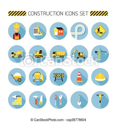 apartamento, jogo construção, objetos, ícones - csp38778604