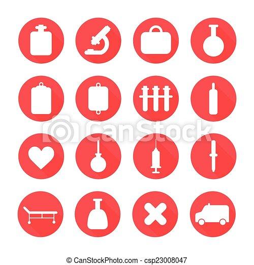 apartamento, jogo, silueta, elements., coloridos, pictograma, ícones médicos, longo, shadow., vetorial, saúde, ilustração, desenho, style. - csp23008047