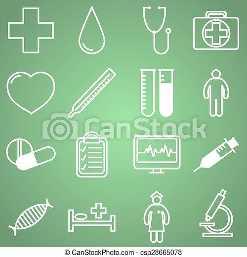 apartamento, linear, ícones, ilustração médica, vetorial, desenho, set. - csp28665078
