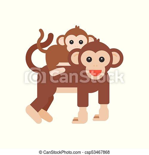 Apartamento Macaco Piggyback Desenho Mae Bebe Montando