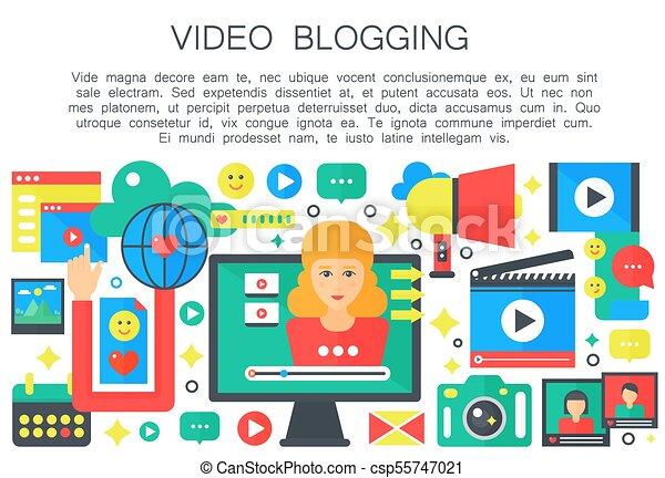 apartamento, mulher, computador, femininas, teia, pessoal, blogger, concept., blogger., caricatura, vetorial, vídeo, canal, modelo, tela, blogging, broadcasting., illustration. - csp55747021