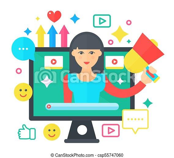 apartamento, mulher, computador, illustration., pessoal, blogger, concept., blogger., transmissão, vetorial, vídeo, femininas, tela, caricatura, blogging, canal - csp55747060