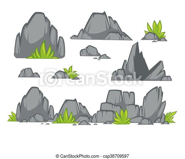 apartamento, pedra, jogo, diferente, style., boulders., rocha, caricatura - csp38709597