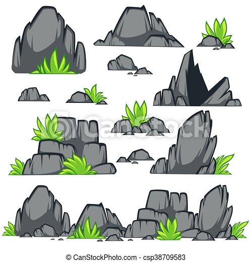 apartamento, pedra, jogo, diferente, style., boulders., rocha, caricatura - csp38709583