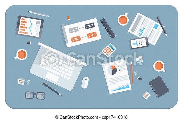 apartamento, reunião, ilustração negócio - csp17410318