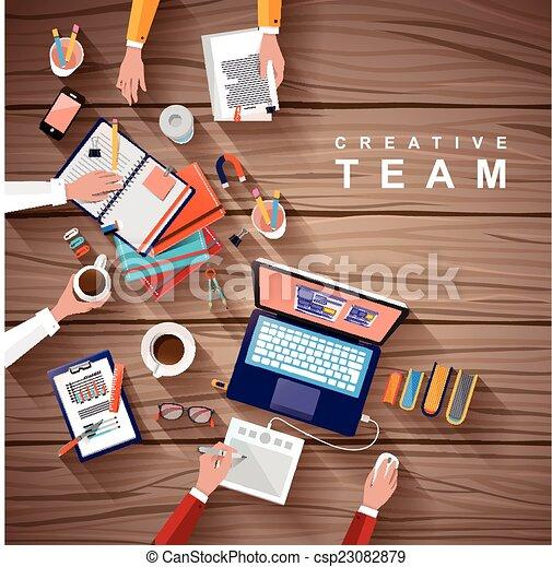 apartamento, trabalhando, criativo, desenho, equipe, lugar - csp23082879