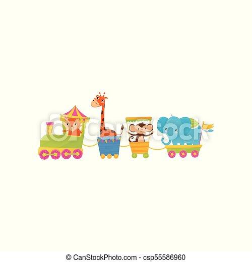 apartamento, vetorial, macaco, coloridos, saudação, train., ou, theme., jardim zoológico, characters., s, livro, desenho, viajando, animal, elefante, girafa, caricatura, crianças, cartão, raposa - csp55586960
