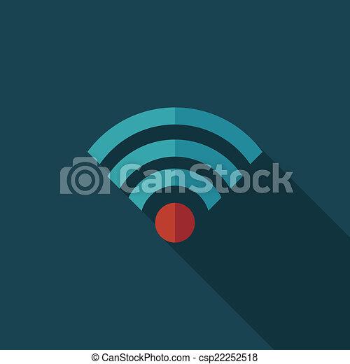 apartamento, wifi, longo, sem fios, sombra, ícone - csp22252518