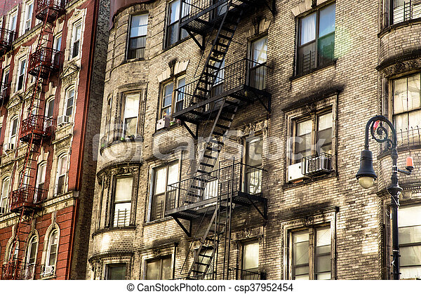 apartment building typical exterior facade of old new york city