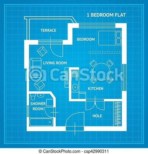 Apartment floor plan blueprint vector apartment floor plan apartment floor plan blueprint vector malvernweather Images
