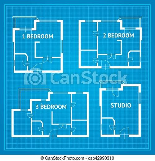 Apartment floor plan set blueprint vector apartment floor apartment floor plan set blueprint vector malvernweather Image collections