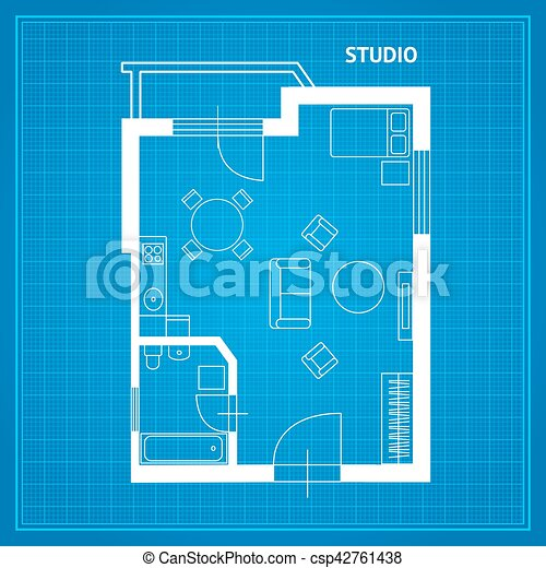 Blueprint with furniture stock illustration search clipart apartment floor plan studio blueprint vector malvernweather Choice Image