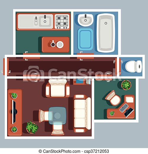 Apartment floor vector plan with furniture plan apartment for Apartment floor plans vector