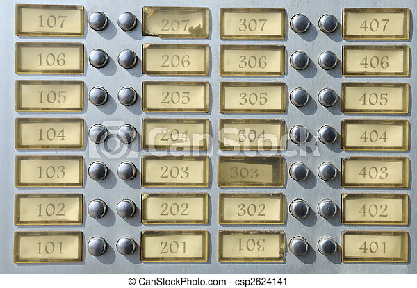Apartment house doorbell plate with numbers - csp2624141