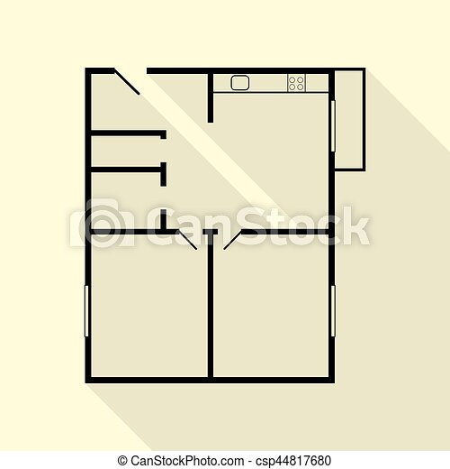 Apartment house floor plans black icon with flat style for Apartment stock plans