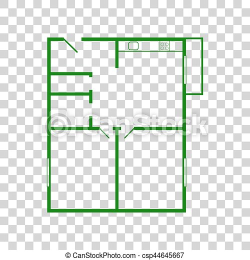 Apartment house floor plans dark green icon on transparent