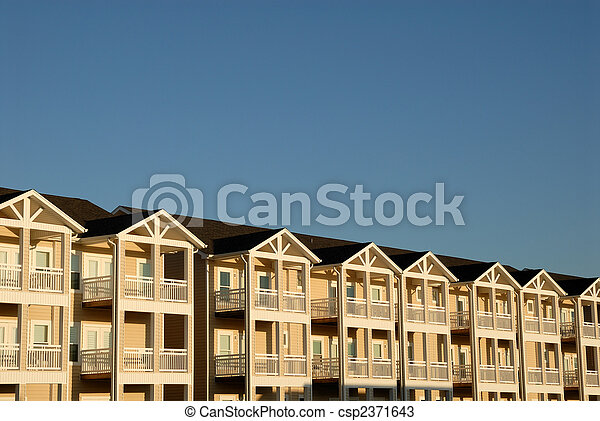 Apartment house with balconies, USA - csp2371643