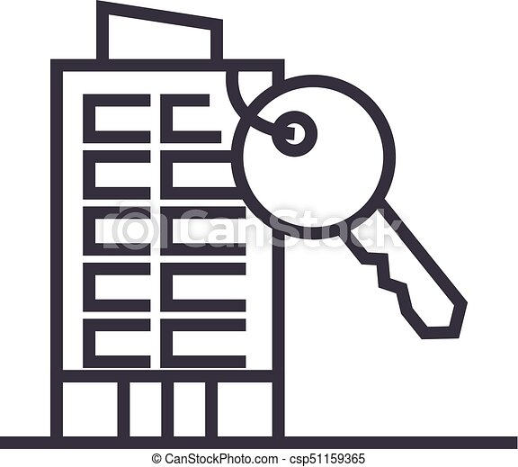apartment house with key vector line icon, sign, illustration on background, editable strokes - csp51159365