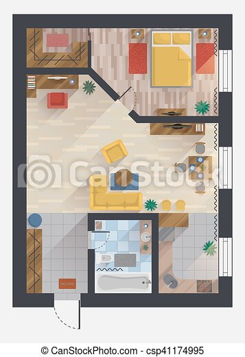 Apartment or flat house floor plan top view Apartment or eps