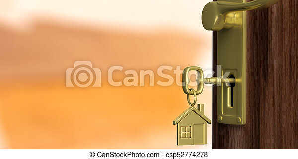 Apartment or home doorway with open door, orange background. 3d illustration - csp52774278
