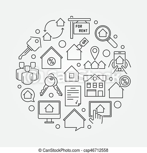 Apartments for rent round illustration - csp46712558