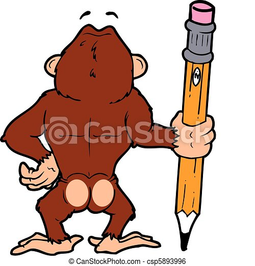 ape pencil an ape looking on holding a large pencil rh canstockphoto com clipart ape regina angry ape clipart