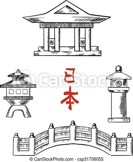 apedreje lanternas japoneses ponte templo pedra lanterns