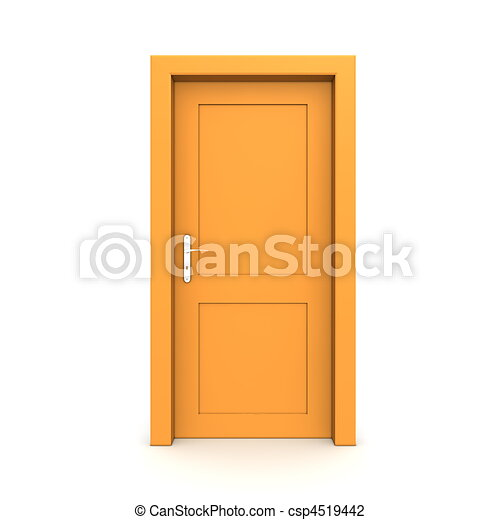 apelsin, singel, dörr, stängd - csp4519442