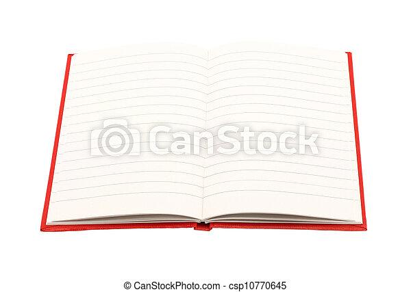 aperto, bianco, blocco note, fondo - csp10770645