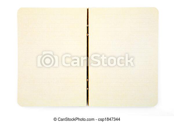 aperto, bianco, blocco note, isolato - csp1847344