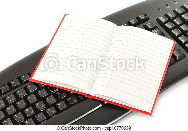 aperto, blocco note, tastiera - csp10770639