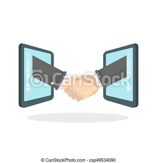 aperto mão, screens., entre - csp49534090